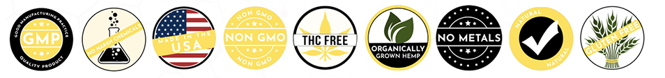 CBD - THC free - Non-GMO - Made in USA - Organically Grown - No metals - No pesticides