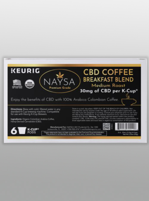 cbd coffee k-cups keurig breakfast blend - naysa - herbane health
