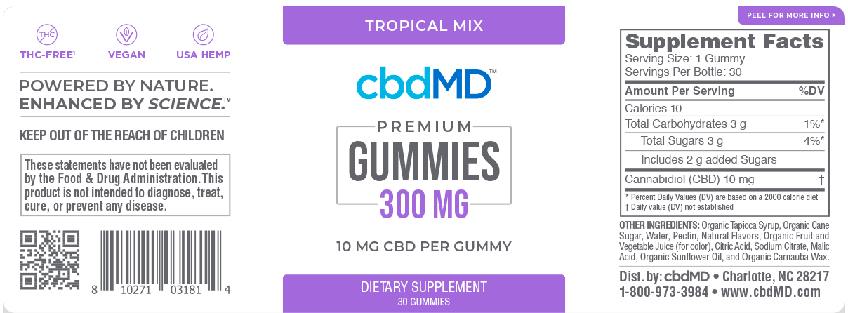 cbdMD Gummies 300mg CBD oil Ingredients - 30ct - Herbane Health