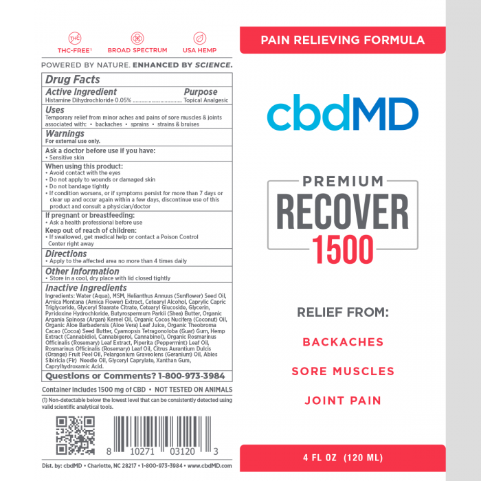 cbdMD recover inflammation 1500 CBD cream squeeze ingredients- Herbane Health
