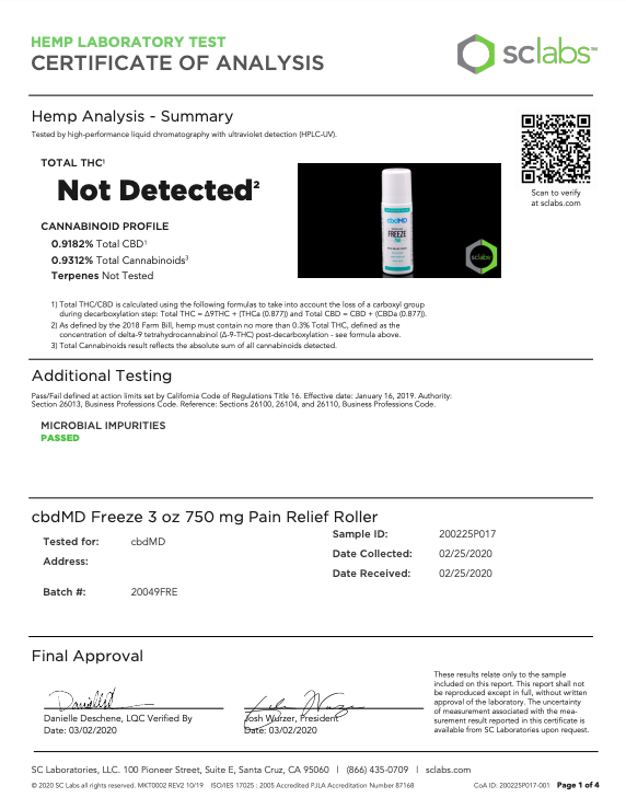 cbdmd Freeze Roll On Gel 750 Herbane Health Lab Result