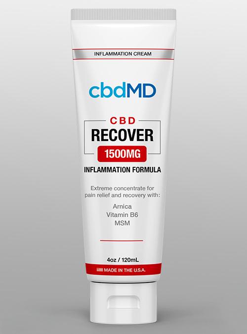 cbdMD recover inflammation 1500 CBD cream squeeze - Herbane Health