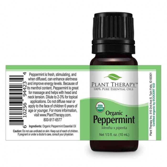 Organic Peppermint Essential Oil ingredients- Herbane Health