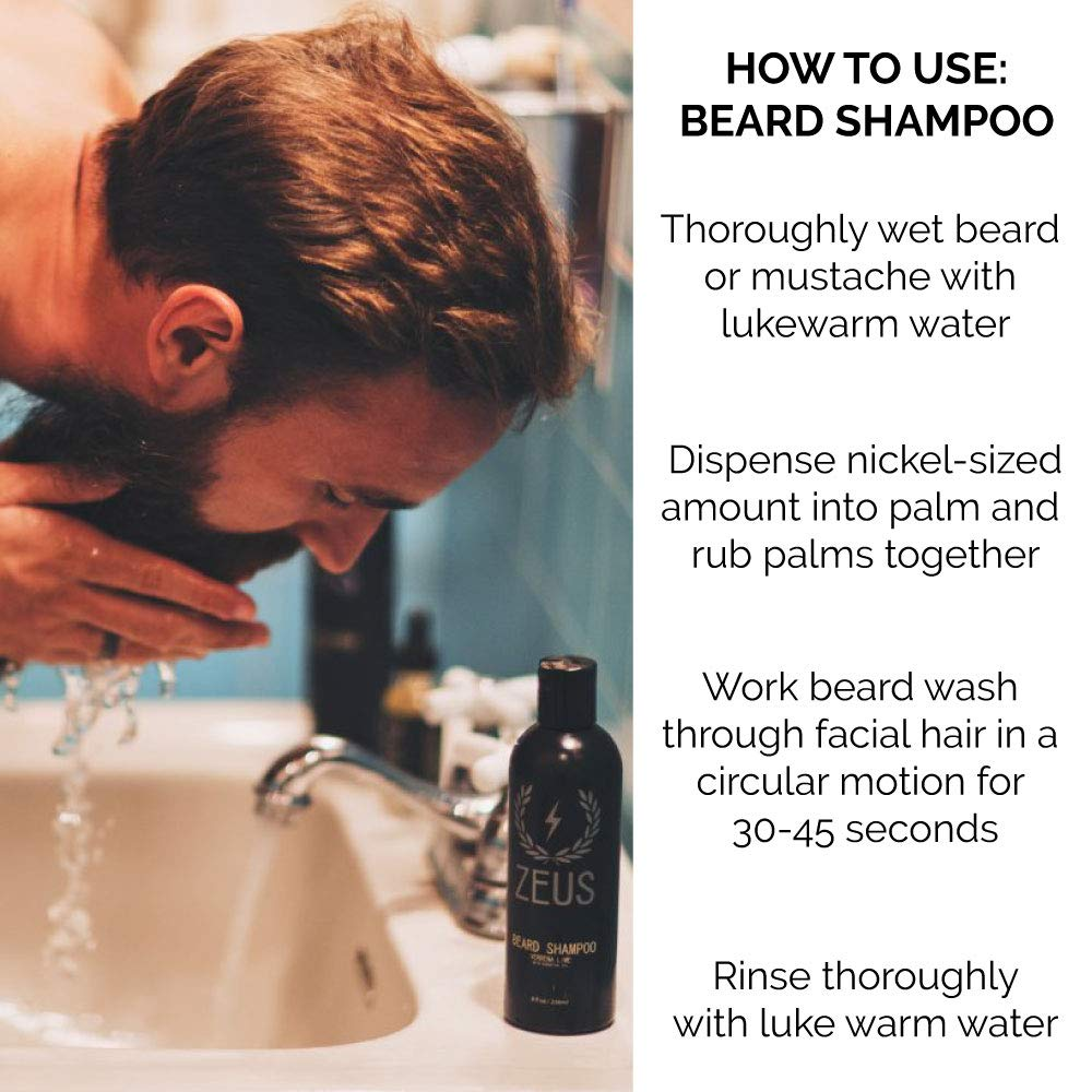 Beard Shampoo Wash 8 fl oz, Zeus Vanilla Rum - How to Use