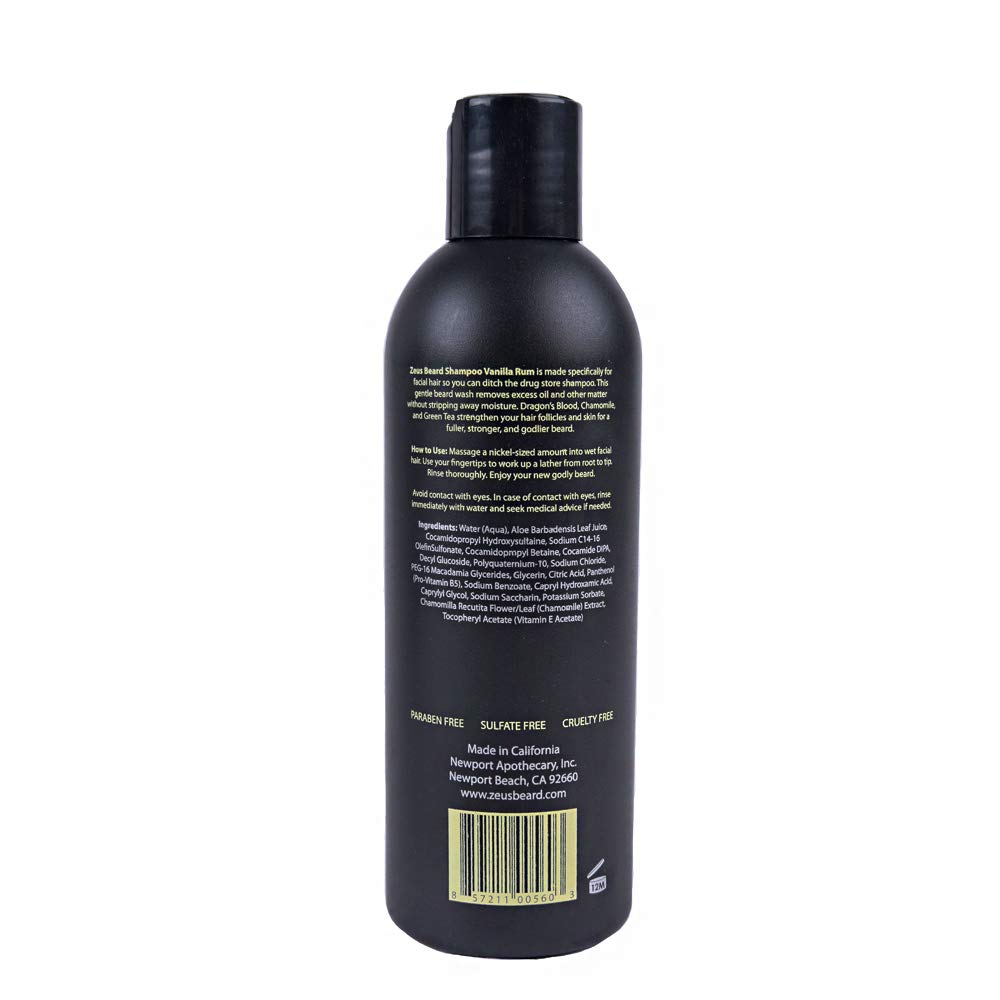 Beard Shampoo Wash 8 fl oz, Zeus Vanilla Rum ingredients