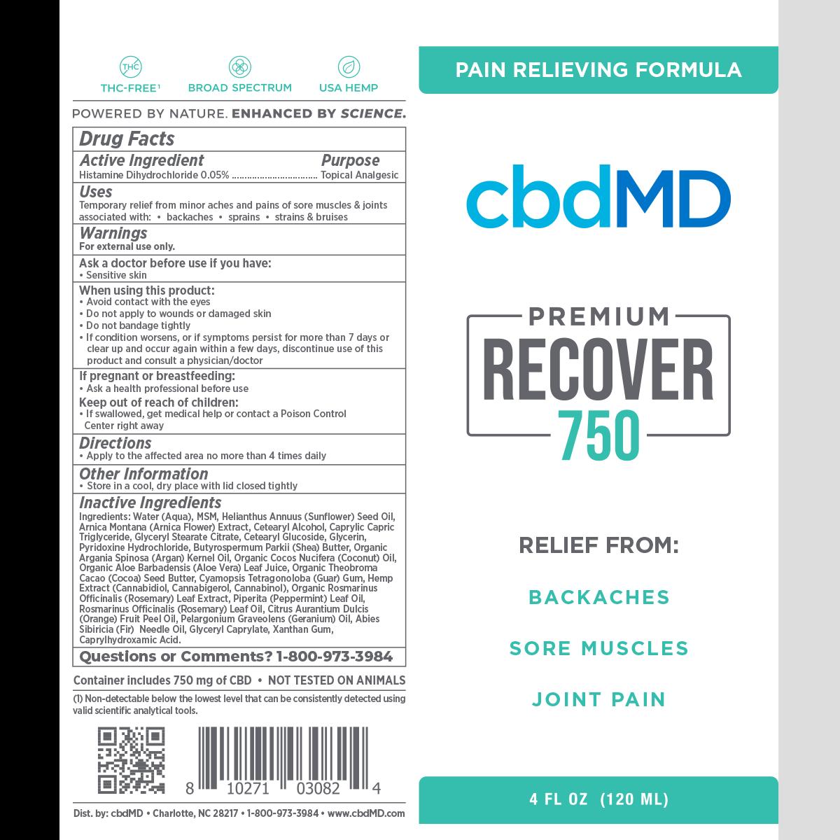 CBD Inflammation cream Recover 750mg Ingredients - Herbane Health