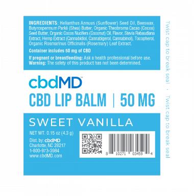 cbd lip balm cbdMD 50mg Sweet Vanilla