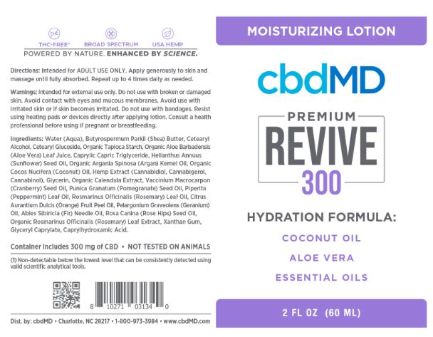 cbd 300mg revive hydration cream moisturizing lotion cbdMD ingredients