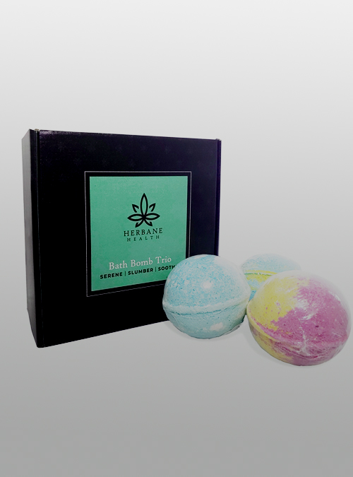 CBD Bath bomb trio pack - box - 300mg - Herbane Health